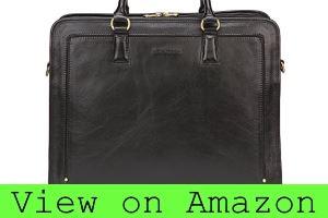 Banuce Full Grain Leather Briefcase Messenger Bag