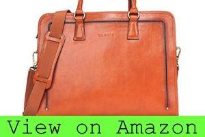 Banuce Women's Full Grain Leather Briefcase Messenger Bag