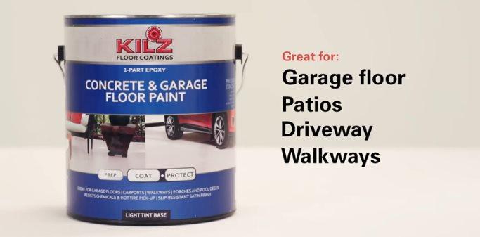 KILZ One-Part Epoxy Acrylic Concrete Paint — Best Concrete Paint for Outdoors